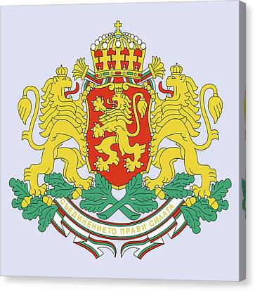 Canvas Print featuring the drawing Bulgaria Coat Of Arms by Movie Poster Prints