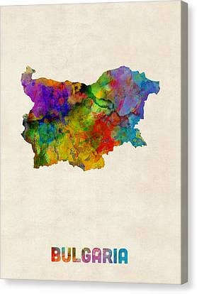 Bulgaria Watercolor Map Canvas Print by Michael Tompsett