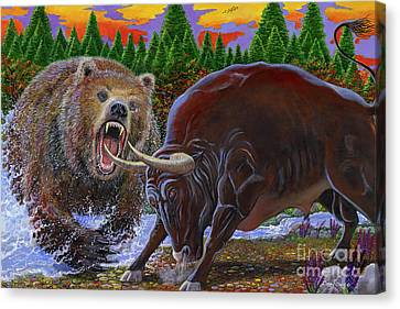 Bull And Bear Canvas Print by Carey Chen