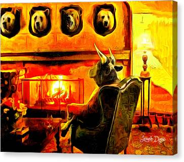 Indoors Canvas Print - Bull At Night - Da by Leonardo Digenio