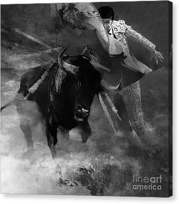 Bull Fighting 09h Canvas Print by Gull G