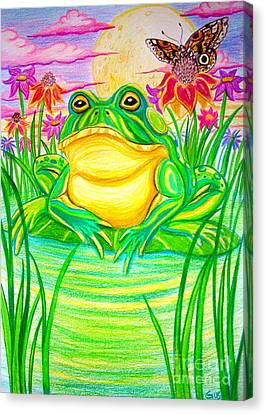 Bull Frog And The Moon Canvas Print by Nick Gustafson