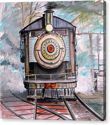 Canvas Print featuring the painting Bull Locomotive by John Williams