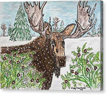 Bull Moose In The Wilderness Canvas Print by Kathy Marrs Chandler