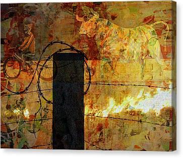 bull on Fire Canvas Print