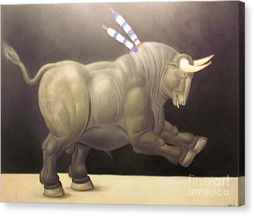bull painting Botero Canvas Print by Ted Pollard