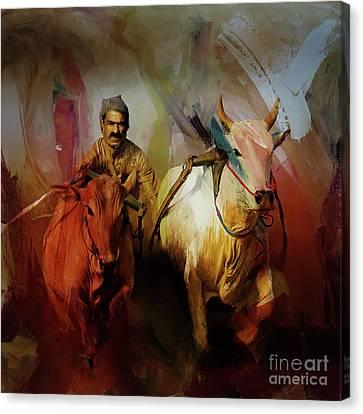 Bull Race 077 Canvas Print by Gull G