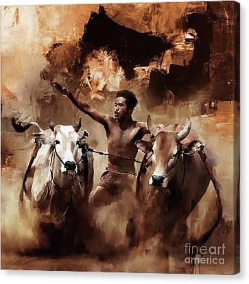 Bull Racing 0951 Canvas Print by Gull G