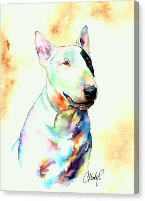Bull Terrier Dog Portrait Canvas Print by Christy  Freeman