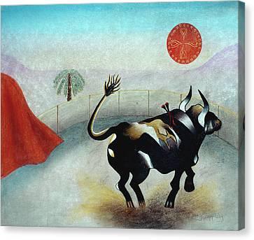 Bull With Sun Canvas Print by Sally Appleby