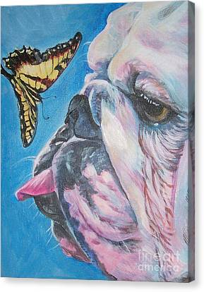 Bulldog And Butterfly Canvas Print