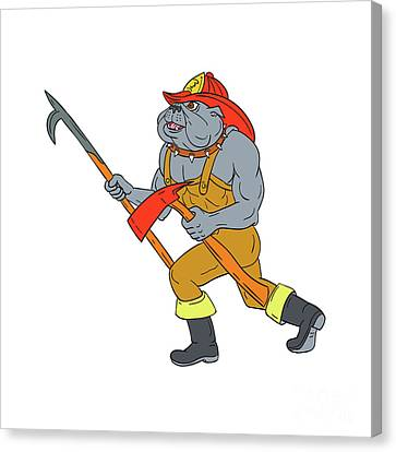 Bulldog Firefighter Pike Pole Fire Axe Drawing Canvas Print