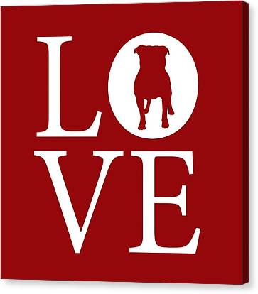 Bulldog Love Red Canvas Print