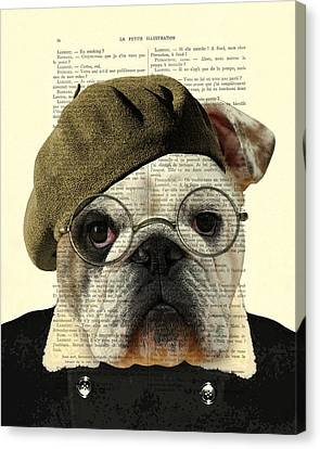 Bulldog Portrait, Animals In Clothes Canvas Print by Madame Memento