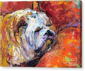 Bulldog Portrait Painting Impasto Canvas Print