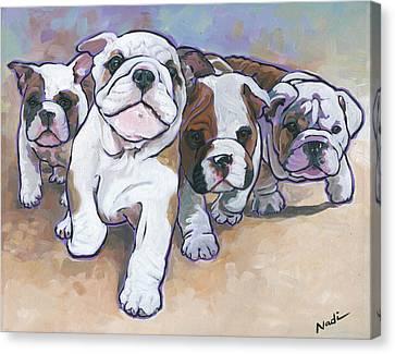 Canvas Print - Bulldog Puppies by Nadi Spencer