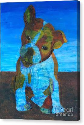 Canvas Print featuring the painting Bulldog Puppy by Donald J Ryker III