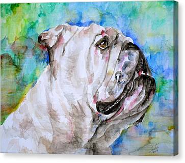 Canvas Print featuring the painting Bulldog - Watercolor Portrait.4 by Fabrizio Cassetta