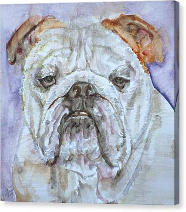 Canvas Print featuring the painting Bulldog - Watercolor Portrait.5 by Fabrizio Cassetta