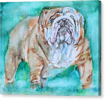 Canvas Print featuring the painting Bulldog - Watercolor Portrait.6 by Fabrizio Cassetta
