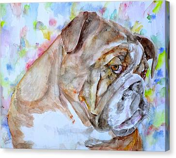 Canvas Print featuring the painting Bulldog - Watercolor Portrait.7 by Fabrizio Cassetta