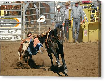 Bulldogging At The Rodeo Canvas Print by Christine Till