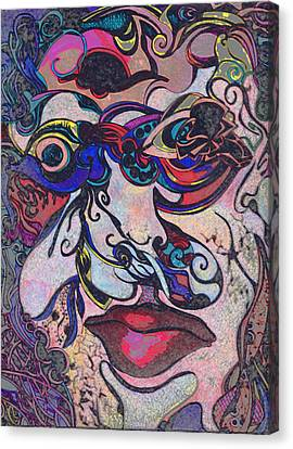 Bullet Hole Face Canvas Print by Jessica Morgan