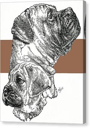 Working Dog Canvas Print - Bullmastiff And Pup by Barbara Keith