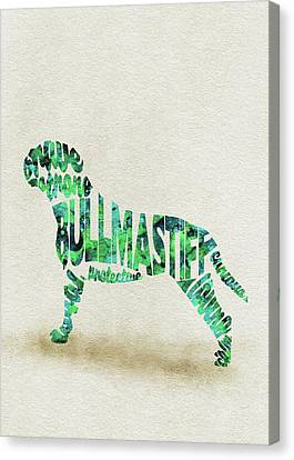 Bullmastiff Watercolor Painting / Typographic Art Canvas Print