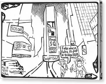 Bum In Times Square By Yonatan Frimer Canvas Print by Yonatan Frimer Maze Artist