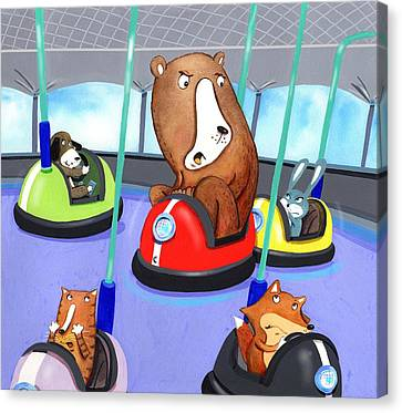 Bumper Cars Bumping  Canvas Print by Scott Nelson