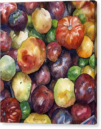 Canvas Print featuring the painting Bumper Crop Of Heirlooms by Anne Gifford
