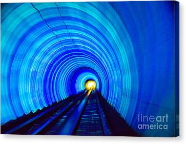 Canvas Print featuring the photograph Bund Tunnel Lights by Angela DeFrias