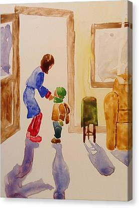 Canvas Print - Bundled Up For School by Marilyn Jacobson