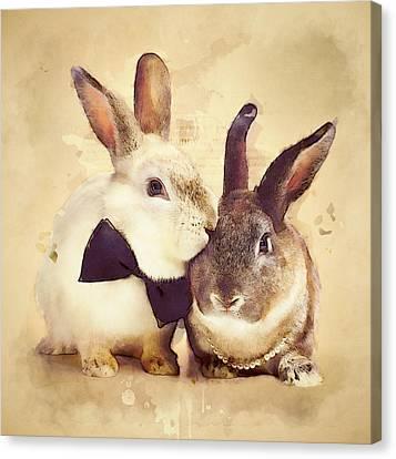 Rural Canvas Print - Bunnies Are In Love by BONB Creative