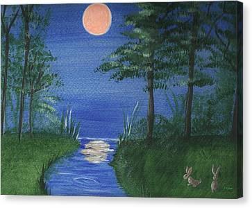 Bunnies In The Garden At Midnight Canvas Print
