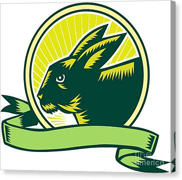 Bunny Head Circle Ribbon Woodcut Canvas Print by Aloysius Patrimonio