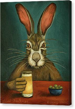 Canvas Print featuring the painting Bunny Hops by Leah Saulnier The Painting Maniac