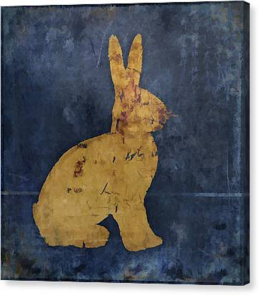 Bunny In Blue Canvas Print by Carol Leigh