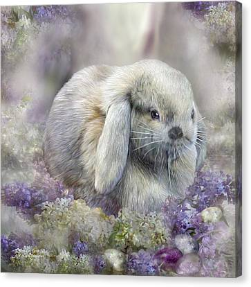 Bunny In Easter Lilacs Canvas Print