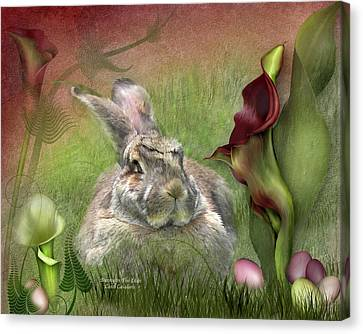 Bunny In The Lilies Canvas Print by Carol Cavalaris