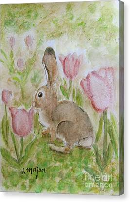 Bunny In The Tulips Canvas Print by Laurie Morgan