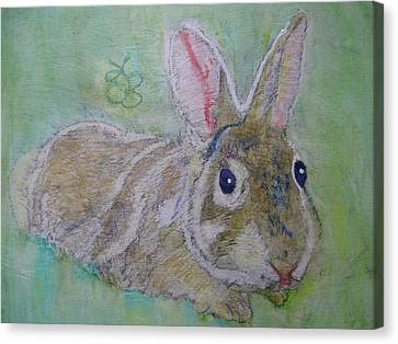 Canvas Print featuring the drawing bunny named Rocket by AJ Brown