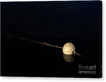 Canvas Print featuring the photograph Buoy At Night by Stephen Mitchell