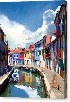 Burano Canal Canvas Print