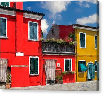 Canvas Print featuring the photograph Burano Color Houses. by Juan Carlos Ferro Duque