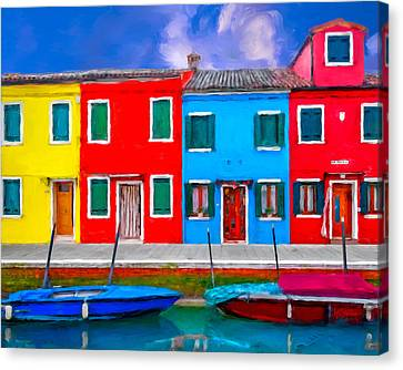 Canvas Print featuring the photograph Burano Colorful Houses by Juan Carlos Ferro Duque