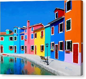 Canvas Print featuring the photograph Burano Houses.  by Juan Carlos Ferro Duque