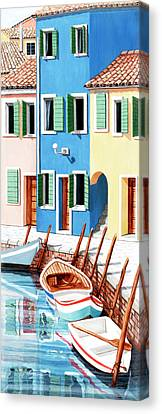 Burano, Italy, Prints From Original Oil Painting Canvas Print by Mary Grden Fine Art Oil Painter Baywood Gallery