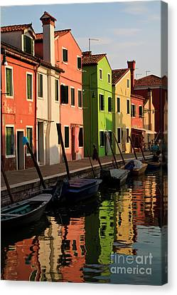 Canvas Print featuring the photograph Burano Reflections by Dennis Hedberg